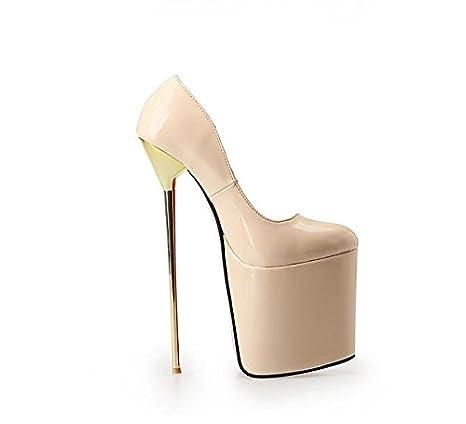 HeiSiMei Zapatos de mujer PU Talón Tacón Tacones / Plataforma Talones / Partido y Noche / Vestido / Negro / Rojo / flor / beige , 43 , beige