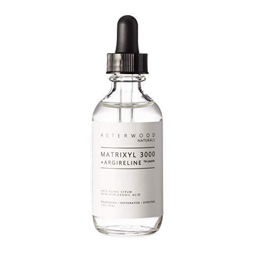 MATRIXYL 3000 + ARGIRELINE Peptide 2 oz Serum + Organic Hyaluronic Acid - Wrinkle Aging Fighting - Powerful Line Remover & Collagen Booster ASTERWOOD NATURALS Liquid Face Lift in a Bottle