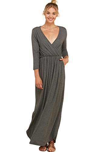 Annabelle Women's Relaxed Silhouette Solid Knit Wrap Maxi Length Dress Mid Grey Large D5241K