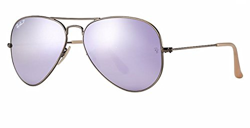 Ray Ban RB3025 167/1R 58M Brushed Bronze Demishiny/ Polarized Gray Lilac Mirror Aviator by Ray-Ban
