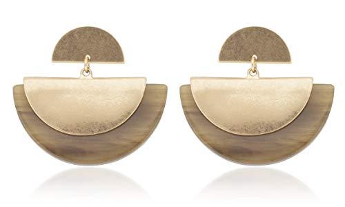 by MODERN Half Moon Dangle Drop Earrings for Women Girls (Brown) ()
