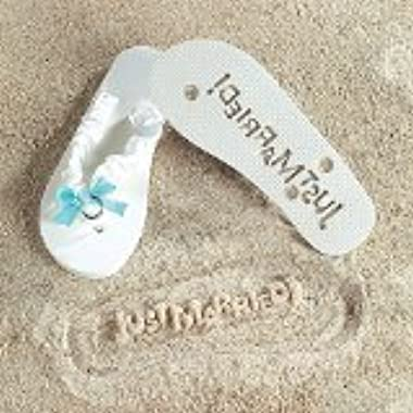 Just Married  Girl Lady Flip Flops (Size 7-8) Stamp Your Message in the Sand