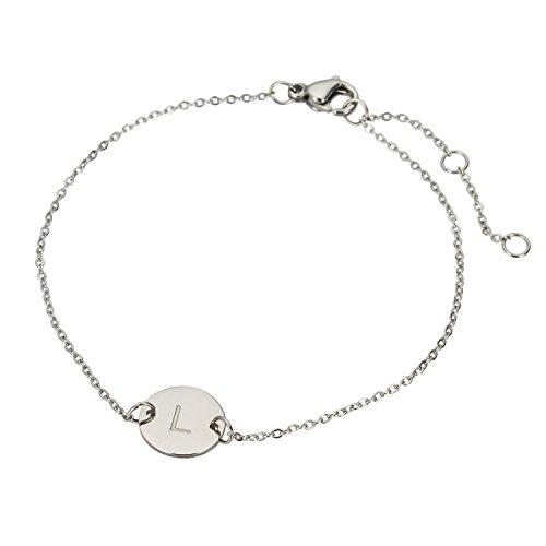HUAN XUN Stainless Steel L Initial Charm Bracelet