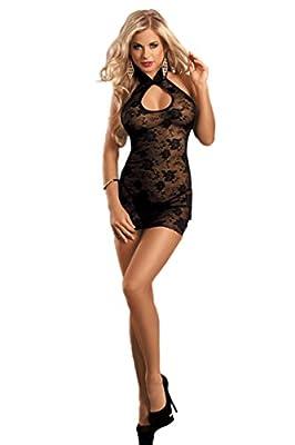 O'Mango Sexy Women Short Black Lingerie Mesh Lace Dress, Skin-tight Teddy Design, Matching Black String Thong