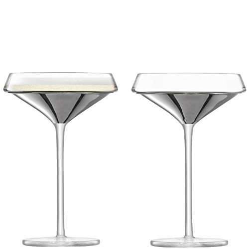 (LSA International Space Champagne/Cocktail Glass 240ml Platinum x 2, Set of 2)