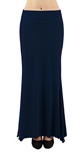 4HOW Women Casual Maxi Skirt Spandex Rayon Long Solid Skirt Navy US Size L (Skirt Spandex Rayon)