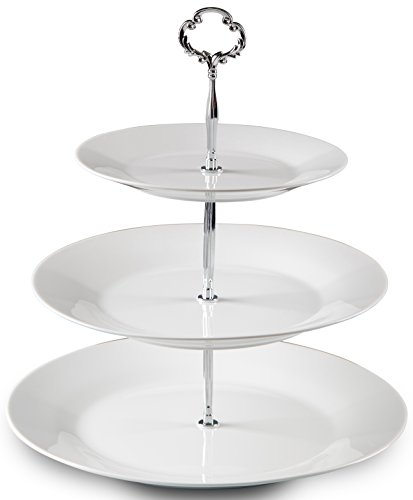 - Klikel 3 Tiered Serving Stand |silver Serving Tray For Parties | Round Platter For Cupcakes Fruits Dessert or Tea | Cake Pop Stand And Buffet Server