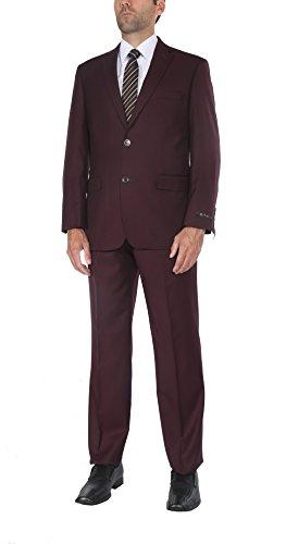 Classic Wool Blazer - PL Men's Two-Piece Classic Fit Office 2 Button Suit Jacket & Pleated Pants Set …