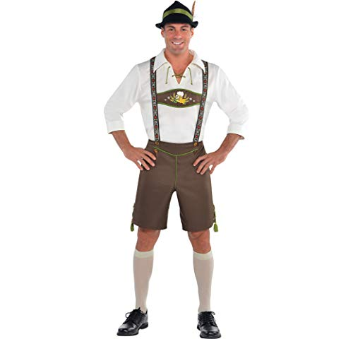 AMSCAN Mr. Oktoberfest Halloween Costume for Men with Included Accessories, Brown, -