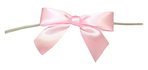 Reliant Ribbon 100 Piece Bow 2.5 Span X 1.75 Tails Twist Tie Ribbon, Light Pink, (100 Piece Light)