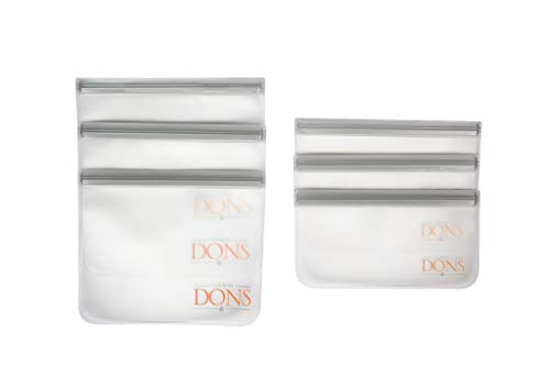 California Dons Deluxe Reusable Food Storage -Snack -Freezer-Sandwich Bags 6 Food Grade PEVA Quality Bags Keep Food Fresh airtight, Leakproof, And Ziplocked BPA,Pvc, lead Free (Best Food In California)