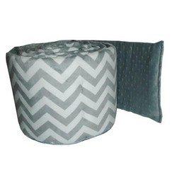 Minky Chevron Cradle Bumper, color: Grey, size: 18x36