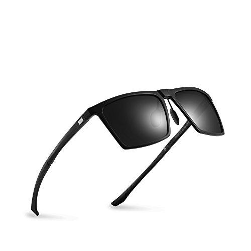 2020Ventiventi Mens Driving Black Frame/Black Lens Square 52mm Polarized Aluminum Sunglasses ()