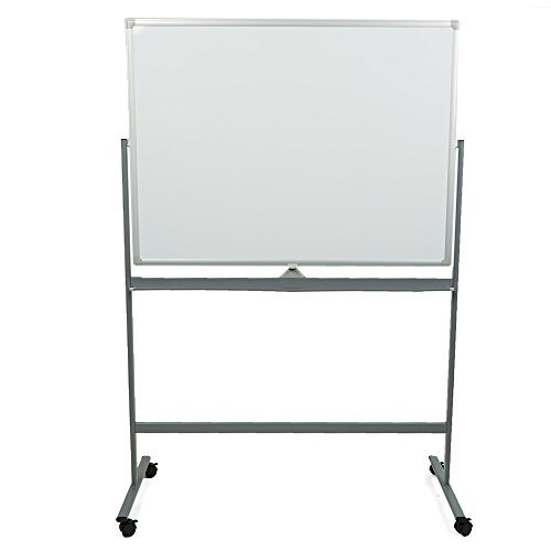 - Mind Reader ROLLBOARD-WHT Portable Magnetic Dry Erase Double Sided Easel White board with 360 Degree Flip Quality Board, White