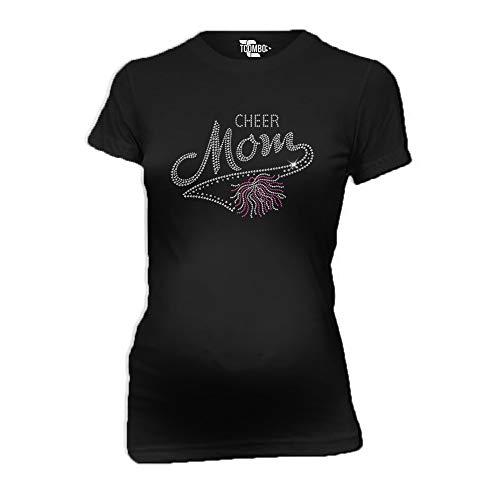 Cheer Mom Rhinestone Women's Maternity T-Shirt (Black, X-Large) ()