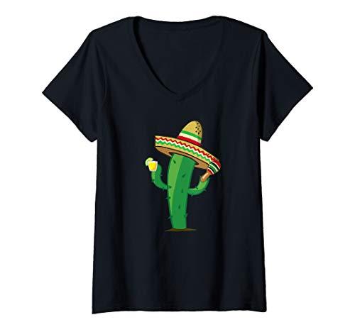 Womens Cactus with maracas and tequila cinqo de mayo tee V-Neck T-Shirt -