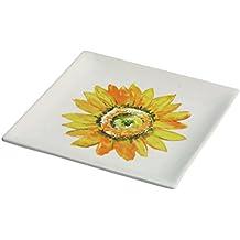 Transpac Dolomite Sunflower Plate, Multicolor