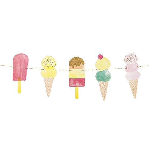 Ice Cream Table (Talking Tables We Heart Ice Cream Hanging Décor Garland for a Summer Party or Children's Birthday (10 Ft), Multicolor)