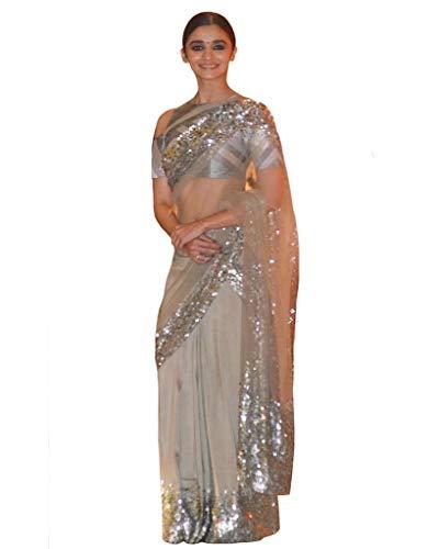(Alia Bhatt Grey Color Sequence Work Saree)