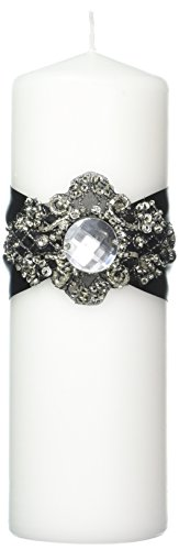 Ivy Lane Design Wedding Accessories Elizabeth Pillar Unity Candle, White and Black