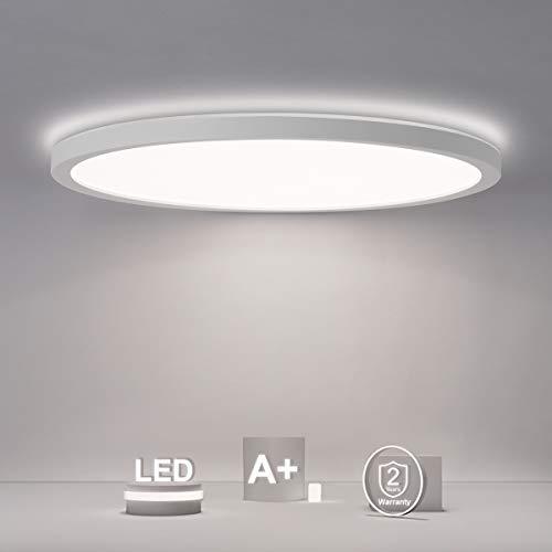 SHILOOK Led Deckenleuchte Rund Flach Panel, 18W 2200LM Deckenlampe 4000K IP44 für Badezimmer/Flur/Schlafzimmer/Keller/Balkon, Modern Weiß Ultra Dünn 29cm