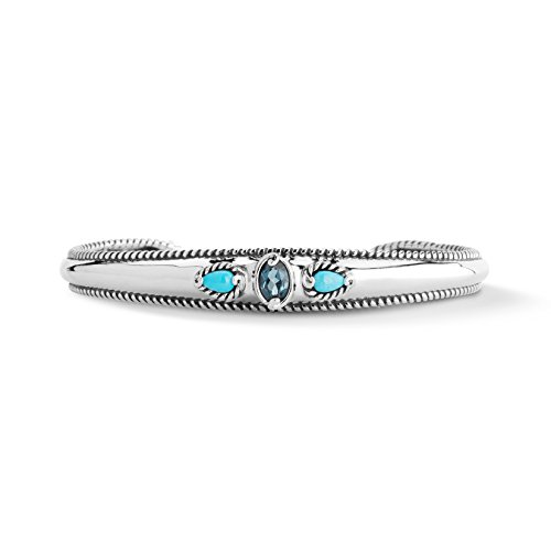 Carolyn Pollack Sterling Silver Sleeping Beauty Turquoise and Topaz 3-Stone Cuff Bracelet Size Medium