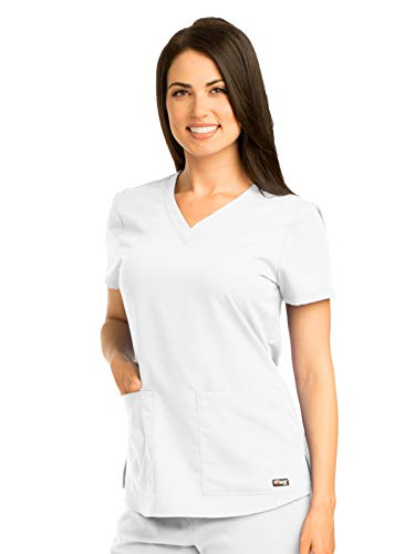 Top Scrub Nurse - Grey's Anatomy Women's Two Pocket V-Neck Scrub Top with Shirring Back, White, 2X-Large
