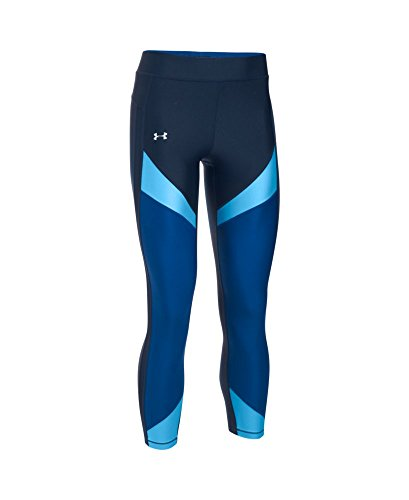 Under Armour Women's HeatGear Color Blocked Ankle Crop, Midnight Navy /Metallic Silver, X-Small by Under Armour (Image #3)