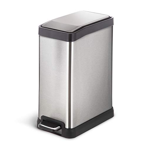 Home Zone Stainless Steel Kitchen Trash Can with Rectangular Design and Step Pedal | 8 Liter / 2 Gallon Storage with Removable Plastic Trash Bin Liner, Silver