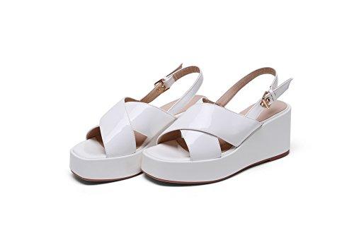 AmoonyFashion Womens Solid PU High-Heels Open-Toe Buckle Sandals White UNLQvW