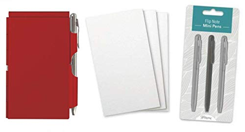 Wellspring Flip Note Notepad Set: Red Flip Note, 3 Flip Note Refill Pads and a 3 Mini Pen Refill