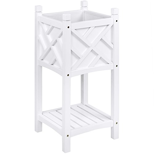 Best Choice Products Square Wooden Stand Planter- White (Planter Square Stand)