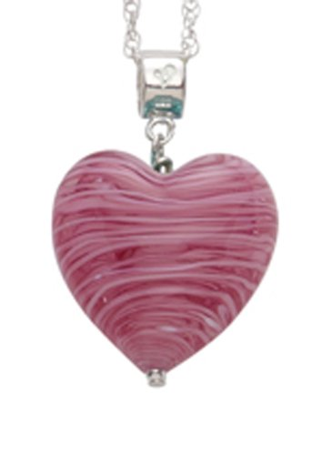 Genuine Murano 20mm Black Heart Pendant with Sterling Silver Chain of Length 45.0cm