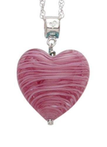 Genuine Murano 20mm Black Heart Pendant with Sterling Silver Chain of Length 45.0cm 1JNtiP3tT