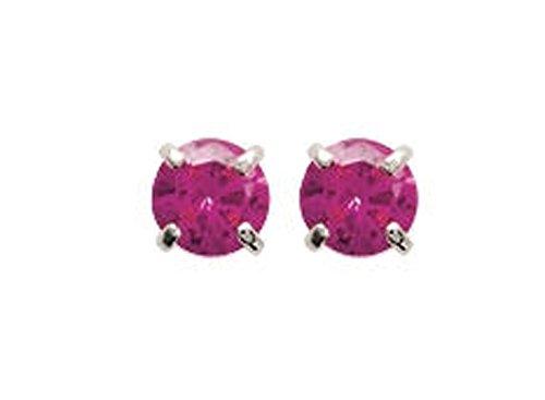 Boucles d'oreilles en argent 925/000 rhodié et cristal rose - 4 mm - Bijoux Femme Enfant