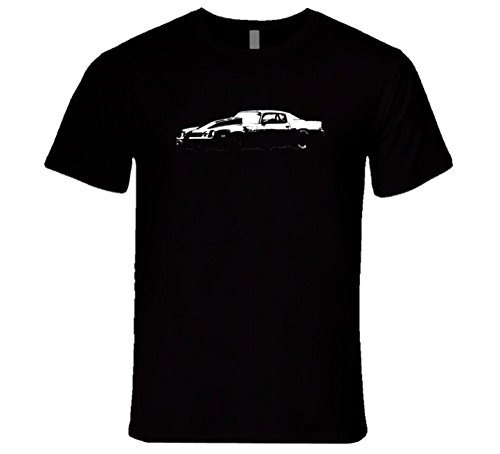 CarGeekTees.com 1981 Camaro Z28 Cowl Hood Side View Faded Look Dark Color Car Lover Gift Enthusiast T Shirt 2XL Black