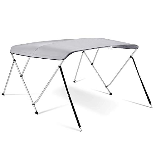 Kohree 3 Bow Bimini Top Boat Cover with Rear Support Pole and with a Set of Aluminum Frame Mounting Hardwares (Grey) ()