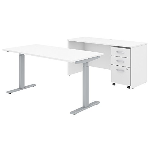Studio C STC017WH 60W x 30D Height Adjustable Standing Desk, Credenza and Mobile File Cabinet in White by Bush Business Furniture