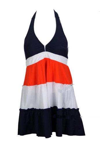 GZYY Women's Retro V-Neck Strip 2 Piece Beachwear Bathing Skirted Swimsuit