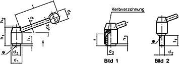 d1=28 mm // d2=M12 // Stahl Stahl HALDER 24440.0302 Verstellbare Spannhebel//mit Innengewinde Matt