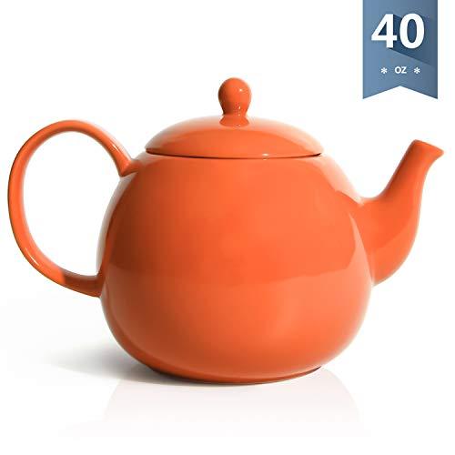 Sweese 2316 Porcelain Teapot, 40 Ounce Tea Pot - Large Enough for 5 Cups, Orange ()