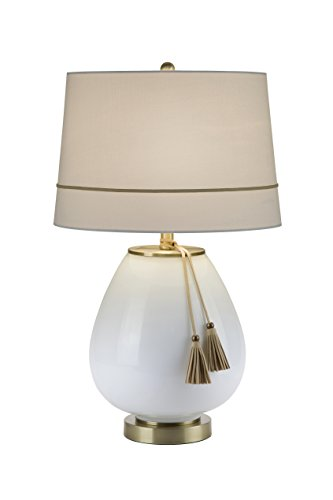 Catalina 20136-000 3-Way Opal White with Leather Tassles with Antique Brass Accents Table Lamp with White Linen Shade, 24.5
