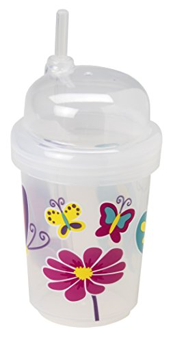 nuSpin Kids 8 oz Zoomi Straw Sippy Cup, Butterflies Style