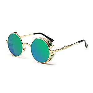 Coolsunny Vintage Hippie Retro Metal Round Circle Frame Sunglasses CS1039