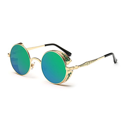 Coolsunny Vintage Hippie Retro Metal Round Circle Frame Sunglasses CS1039 (New Gold-Green, - Sunglasses Circle Frame