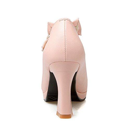 Wedding Pu Shoe Strap Sweet Party Soft Black Size Tie Platform Bow Square 43 Shoes Women 34 Pumps Logan Jerald qv8R44