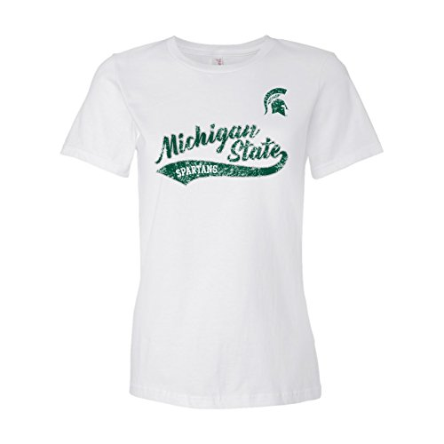 Michigan State Ladies T-shirt - LS18 - Michigan State Spartans Tail Script Ladies T-Shirt - 2X-Large - White