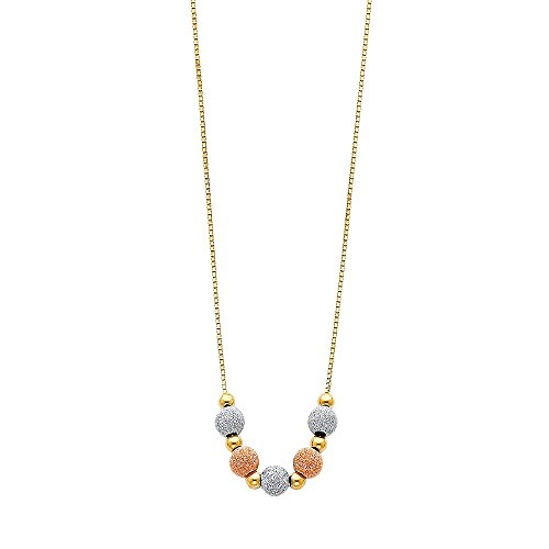 (Precious Stars 14K Tri-Tone Gold Satin Finish Beads 17-inch Necklace)