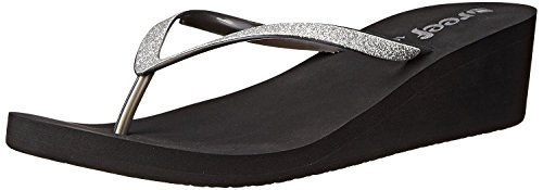 Reef Women's Krystal Star Wedge Sandal,Black/Silver,11 M
