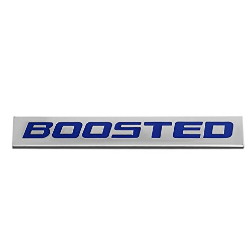 UrMarketOutlet BOOSTED Blue/Chrome Aluminum Alloy Auto Trunk Door Fender Bumper Badge Decal Emblem Adhesive Tape Sticker 1966 Trunk Emblem